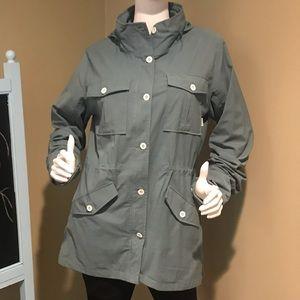 Burton DRYRIDE green blue jacket w/hood & zip sz L
